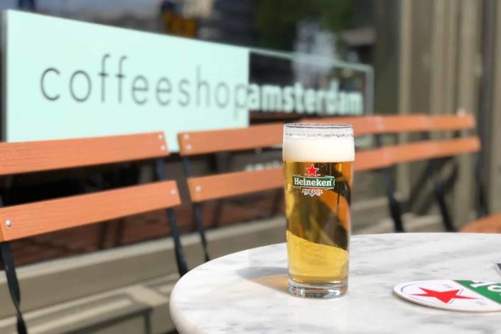 Cold Heineken on a warm summers day in Amsterdam